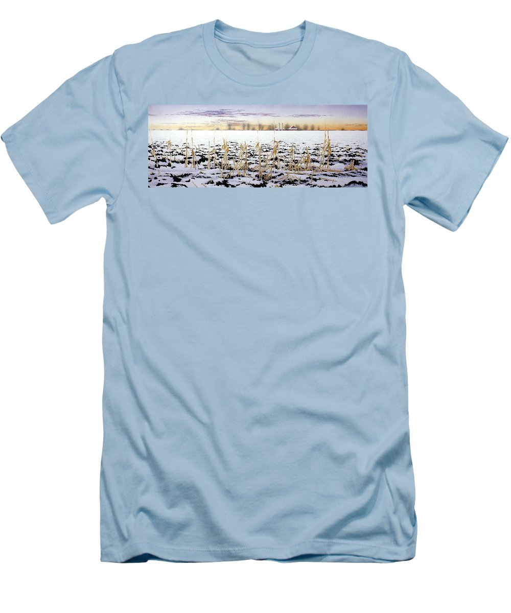 Winter Men's T-Shirt (Athletic Fit) featuring the painting Cornfield In Winter by Conrad Mieschke