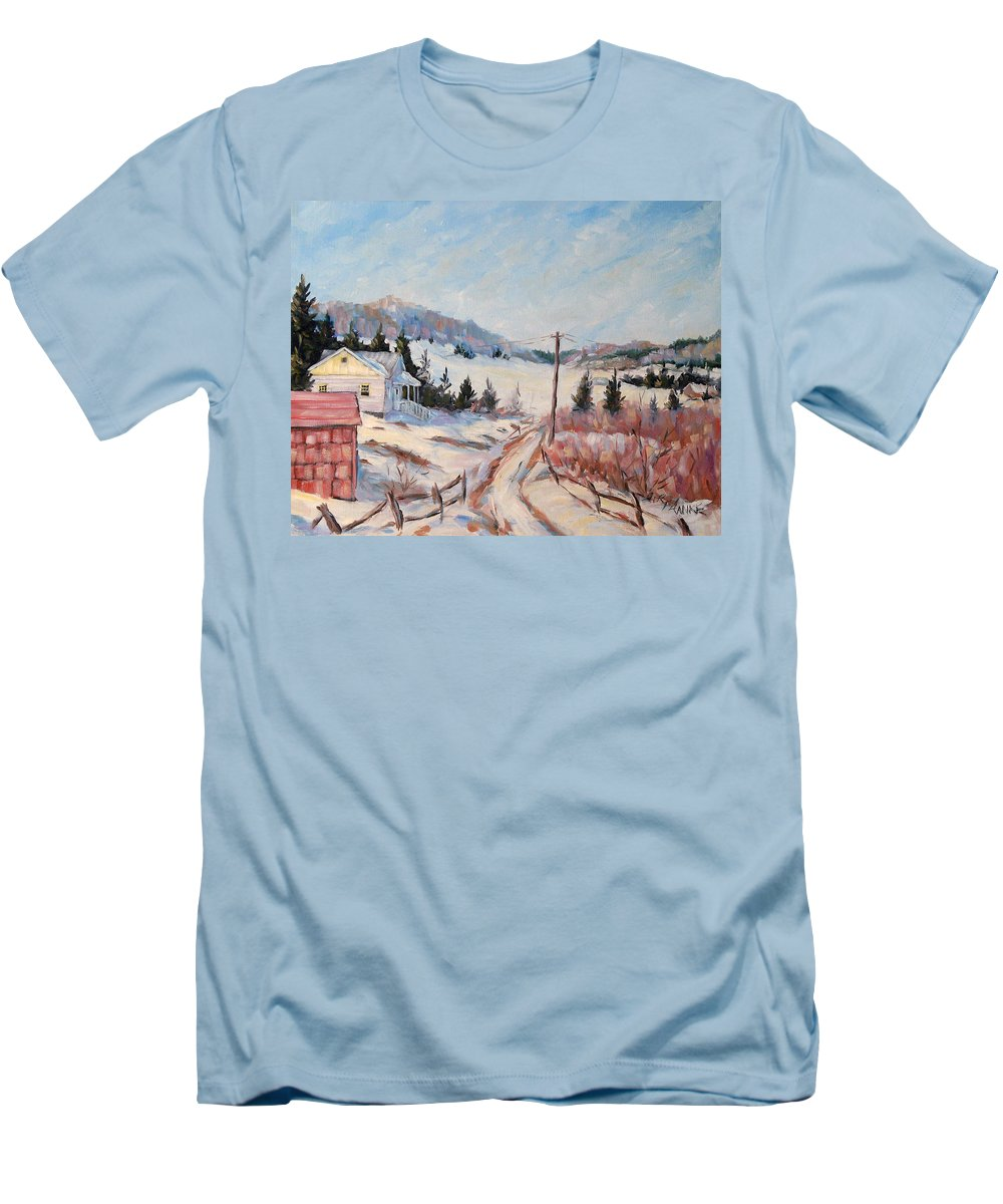 Road Men's T-Shirt (Athletic Fit) featuring the painting Cottage Road by Richard T Pranke