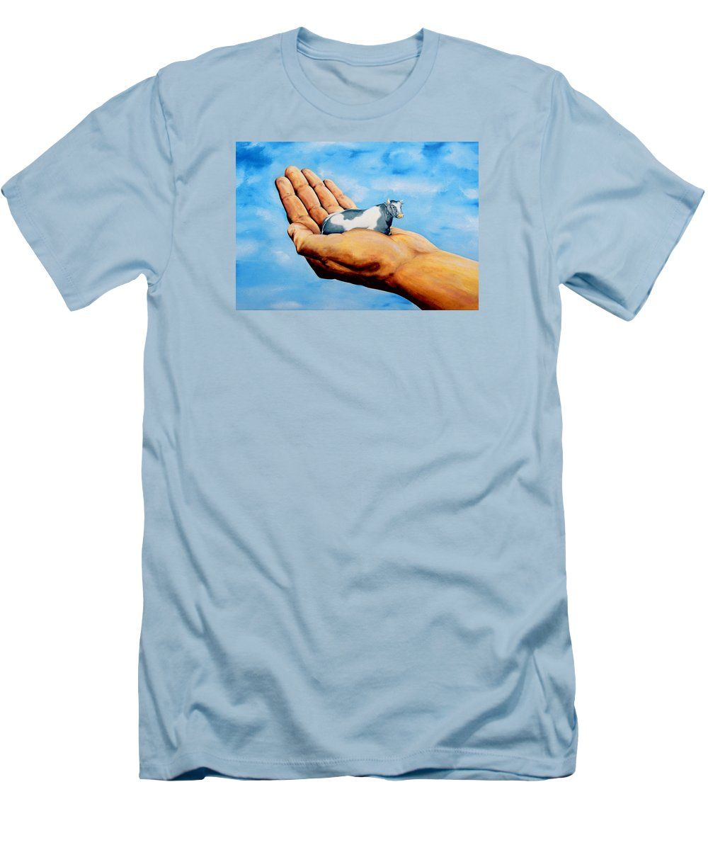 Surreal Men's T-Shirt (Athletic Fit) featuring the painting Cow In Hand by Mark Cawood