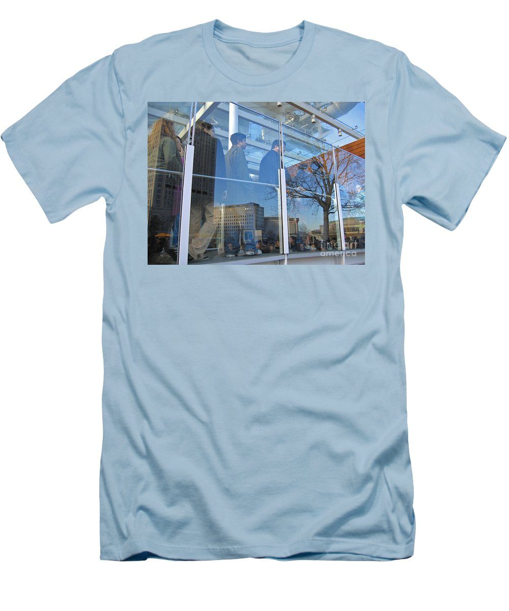 London Men's T-Shirt (Athletic Fit) featuring the photograph Crowd Queuing Up by Ann Horn