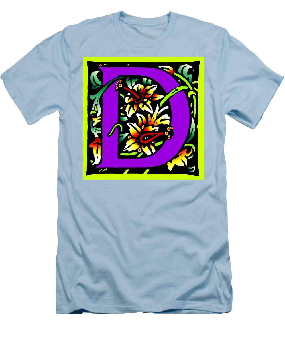 Alphabet Men's T-Shirt (Athletic Fit) featuring the digital art D In Purple by Kathleen Sepulveda