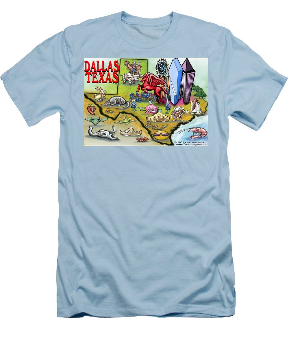Dallas Men's T-Shirt (Athletic Fit) featuring the digital art Dallas Texas Cartoon Map by Kevin Middleton