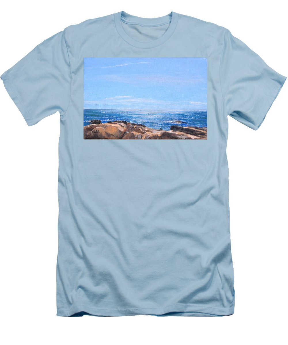 Seascape Men's T-Shirt (Athletic Fit) featuring the painting Dancing Light by Lea Novak