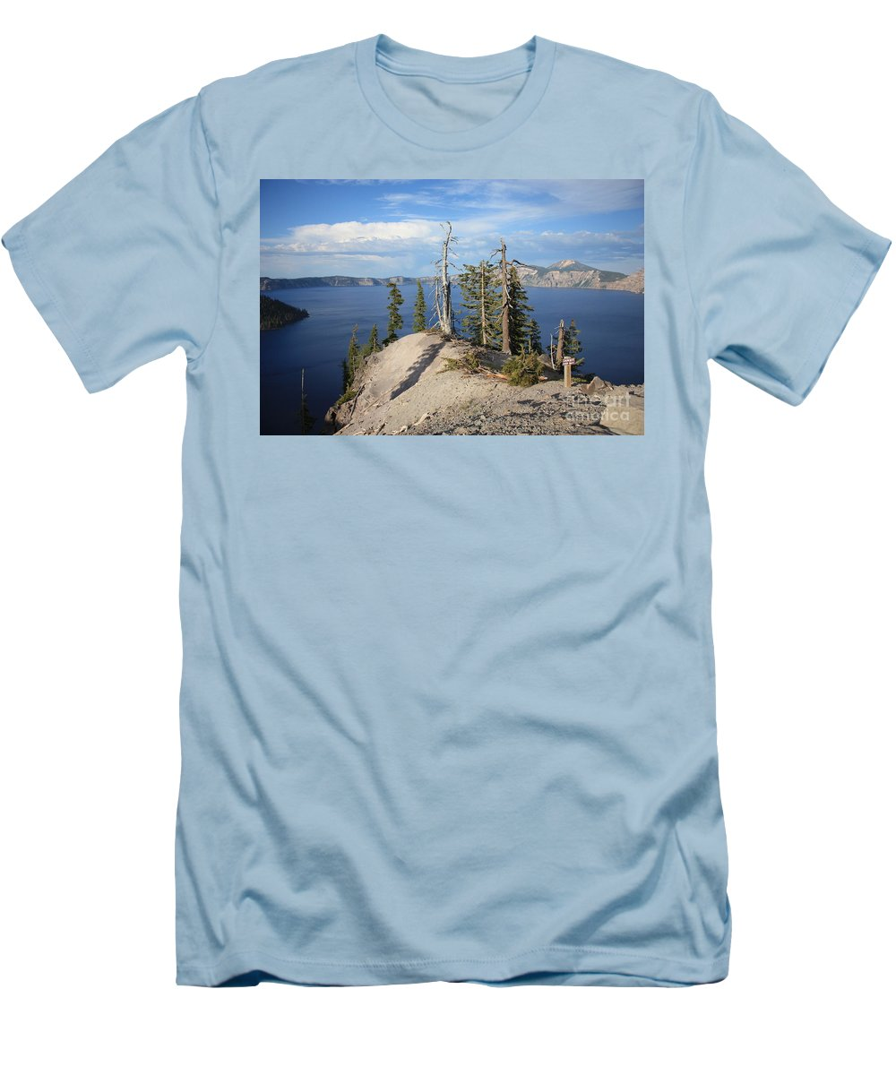 Crater Lake Men's T-Shirt (Athletic Fit) featuring the photograph Dangerous Slope At Crater Lake by Carol Groenen