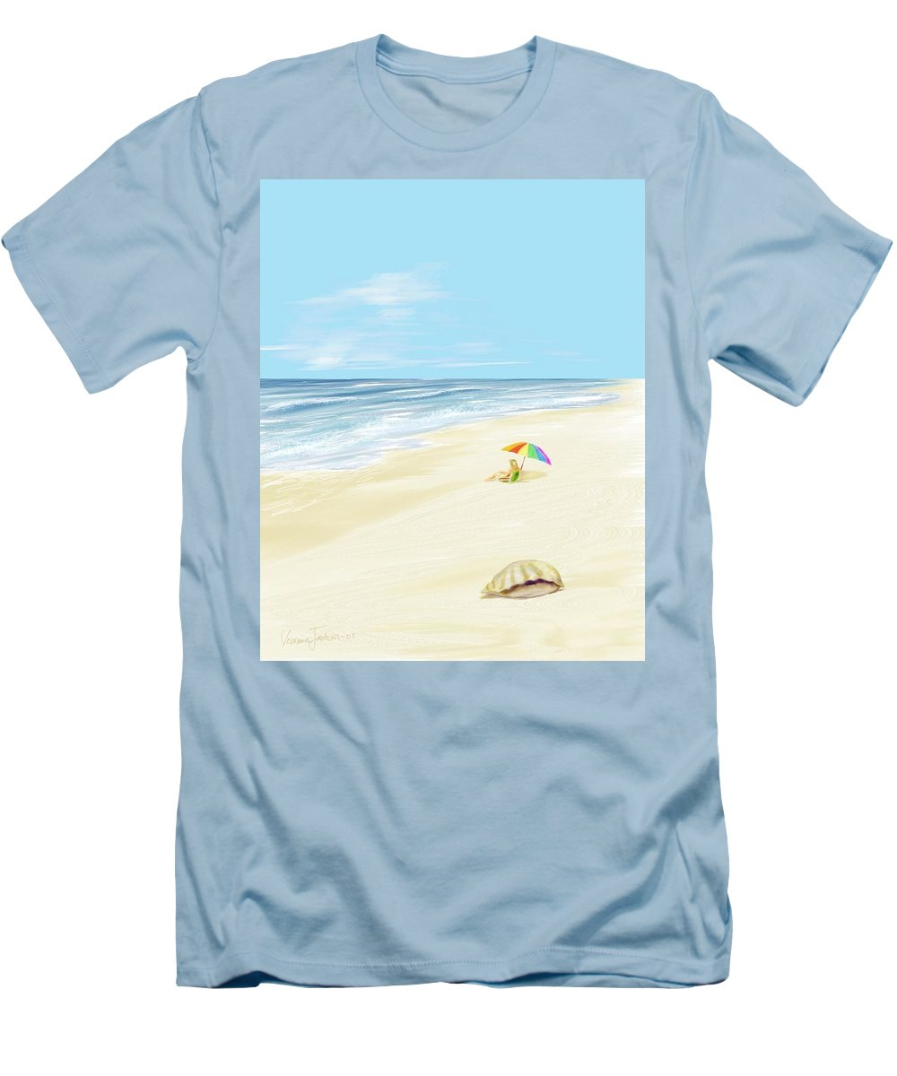 Beach Summer Sun Sand Waves Shells Men's T-Shirt (Athletic Fit) featuring the digital art Day At The Beach by Veronica Jackson