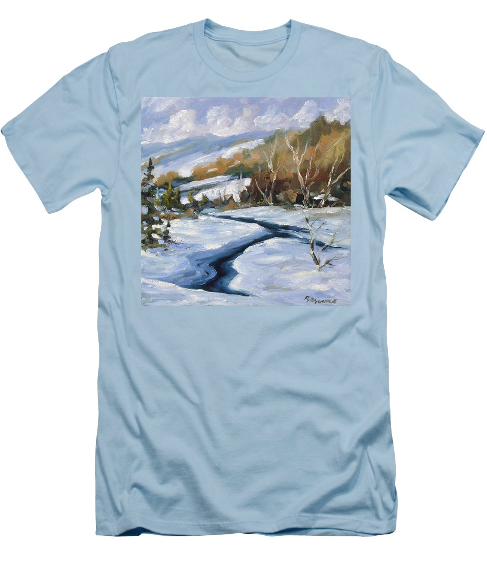 Art Men's T-Shirt (Athletic Fit) featuring the painting Deep Snow by Richard T Pranke