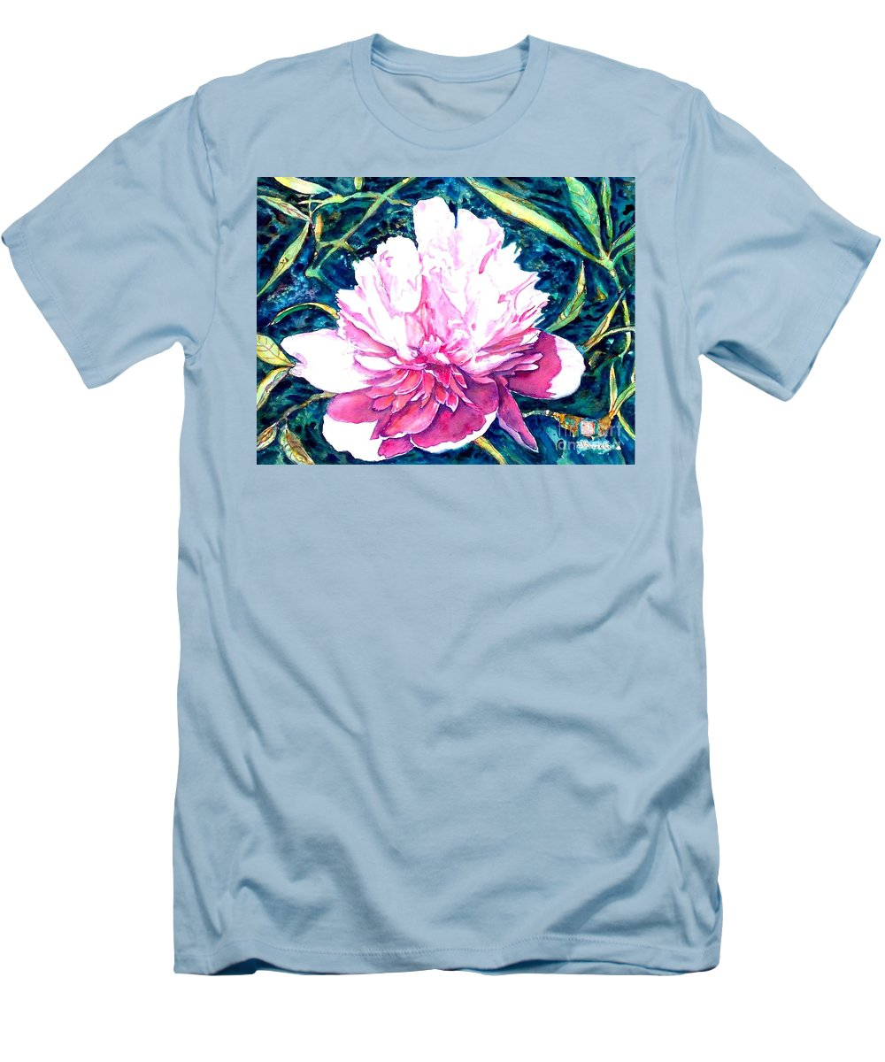 Peony Men's T-Shirt (Athletic Fit) featuring the painting Delightful Peony by Norma Boeckler