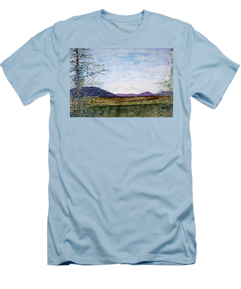 Alaska Art Men's T-Shirt (Athletic Fit) featuring the painting Denali In July by Larry Wright