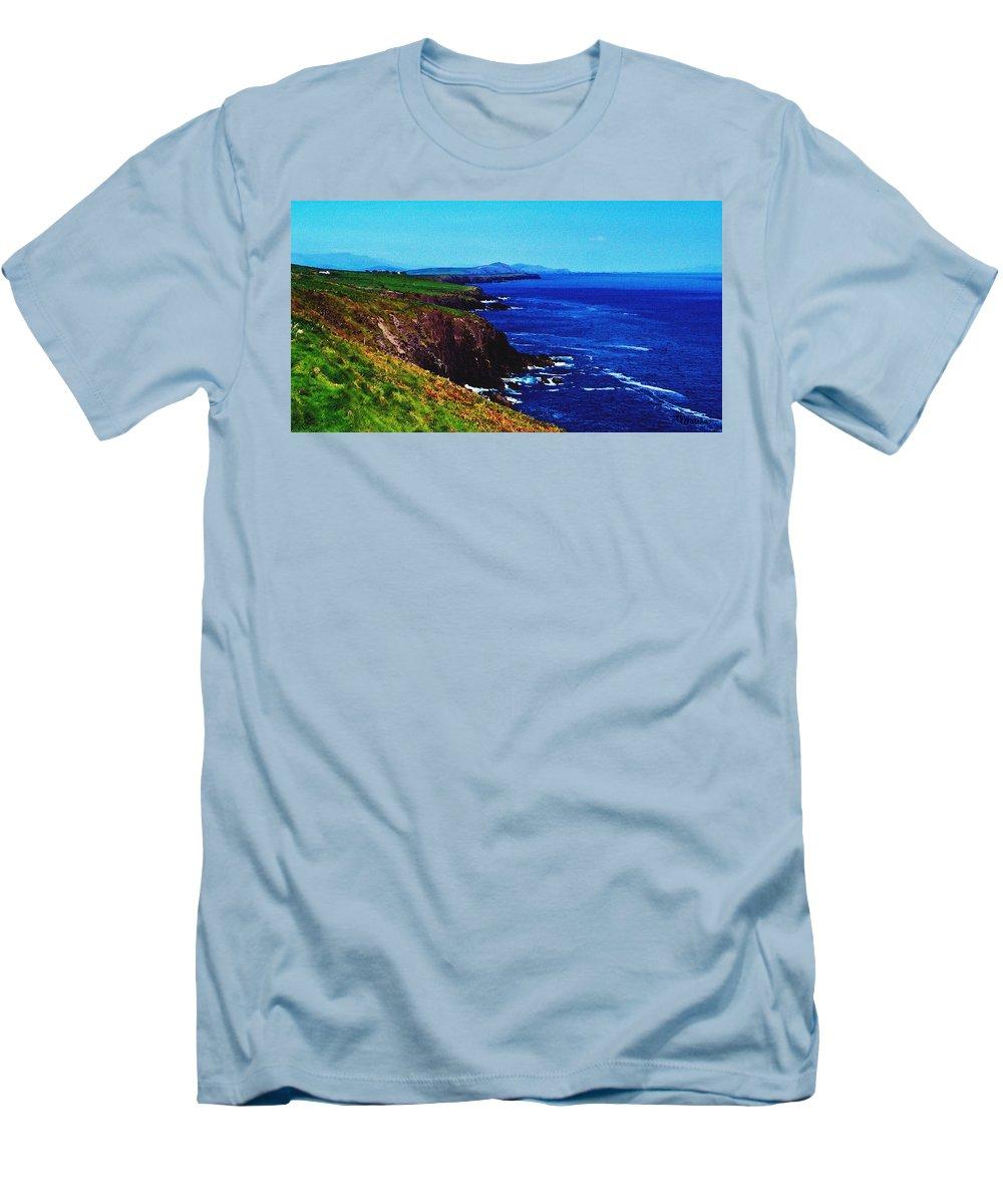 Irish Men's T-Shirt (Athletic Fit) featuring the digital art Dingle Coastline Near Fahan Ireland by Teresa Mucha