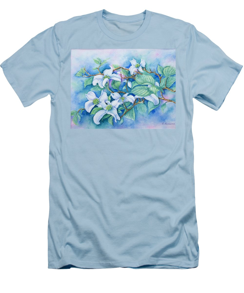 Floral Men's T-Shirt (Athletic Fit) featuring the painting Dogwood by Conni Reinecke