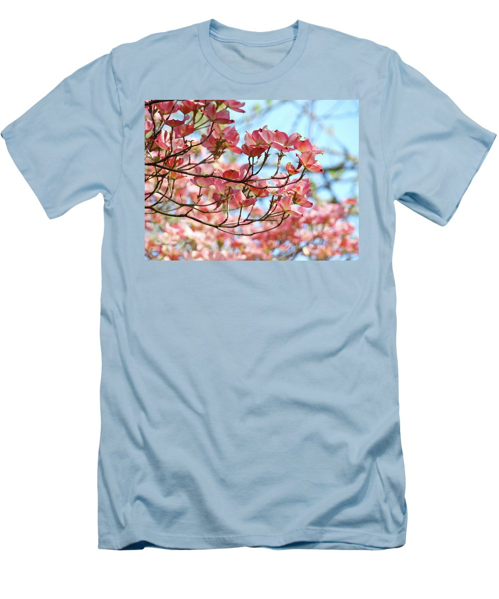 Dogwood Men's T-Shirt (Athletic Fit) featuring the photograph Dogwood Tree Landscape Pink Dogwood Flowers Art by Baslee Troutman