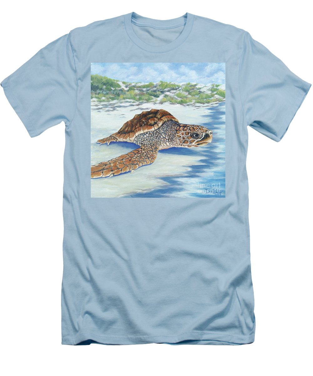 Sea Turtle Men's T-Shirt (Athletic Fit) featuring the painting Dreaming Of Islands by Danielle Perry