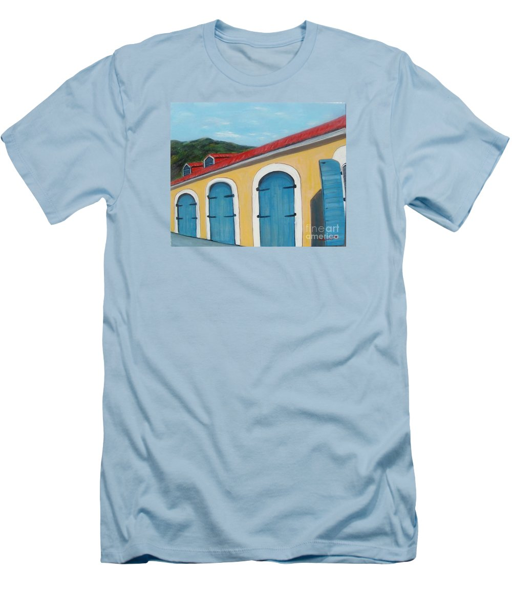 Doors Men's T-Shirt (Athletic Fit) featuring the painting Dutch Doors Of St. Thomas by Laurie Morgan