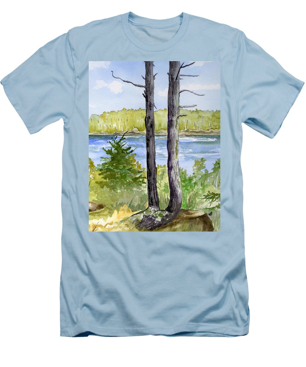 Landscape Seascape Trees Ocean Sea Maine Men's T-Shirt (Athletic Fit) featuring the painting Eastport Maine Coastal Afternoon by Brenda Owen