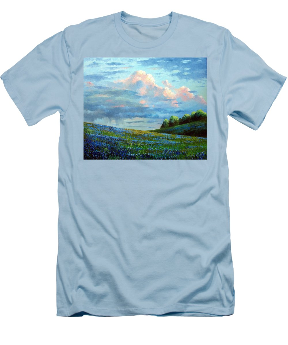 Landscape Men's T-Shirt (Athletic Fit) featuring the painting Evening Rain by David G Paul