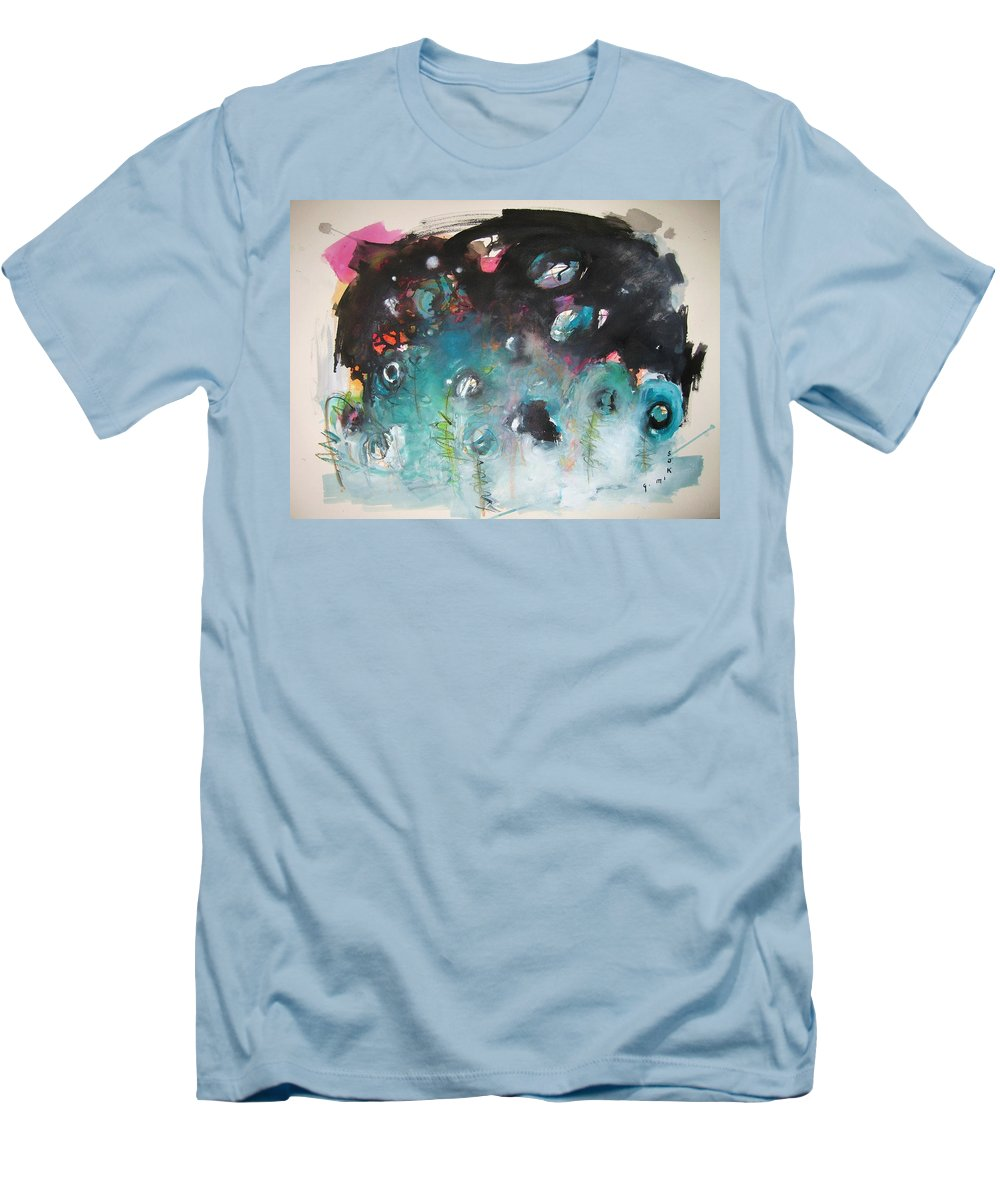 Fiddleheads Paintings Men's T-Shirt (Athletic Fit) featuring the painting Fiddleheads- Original Abstract Colorful Landscape Painting For Sale Red Blue Green by Seon-Jeong Kim