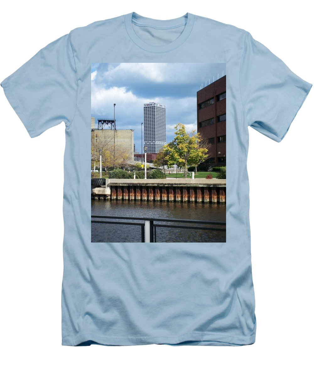 First Star Bank Men's T-Shirt (Athletic Fit) featuring the photograph First Star Tall View From River by Anita Burgermeister
