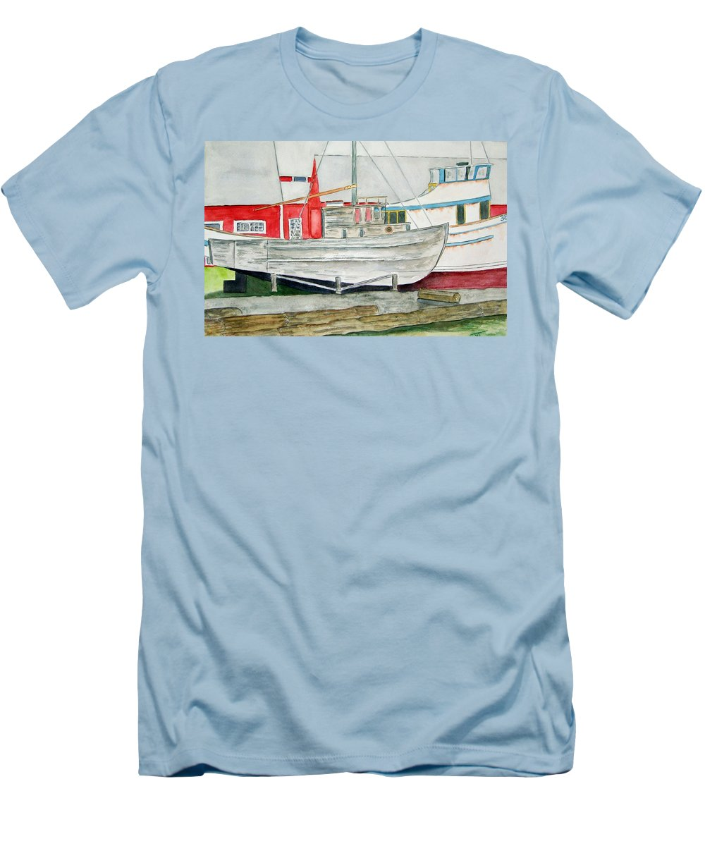 Alaska Art Men's T-Shirt (Athletic Fit) featuring the painting Fish Out Of Water by Larry Wright