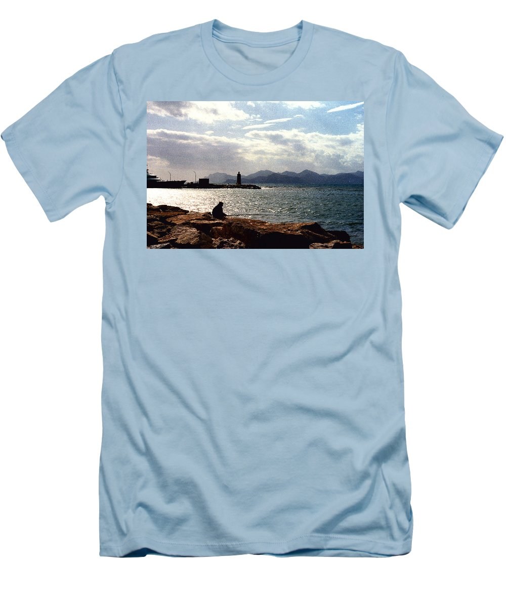 Fisherman Men's T-Shirt (Athletic Fit) featuring the photograph Fisherman In Nice France by Nancy Mueller