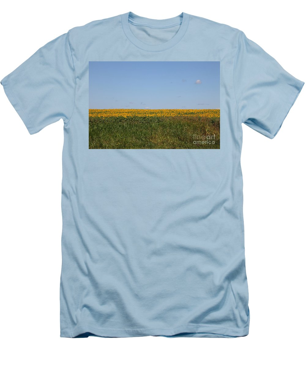 Sunflowers Men's T-Shirt (Athletic Fit) featuring the photograph Floral Blur by Amanda Barcon