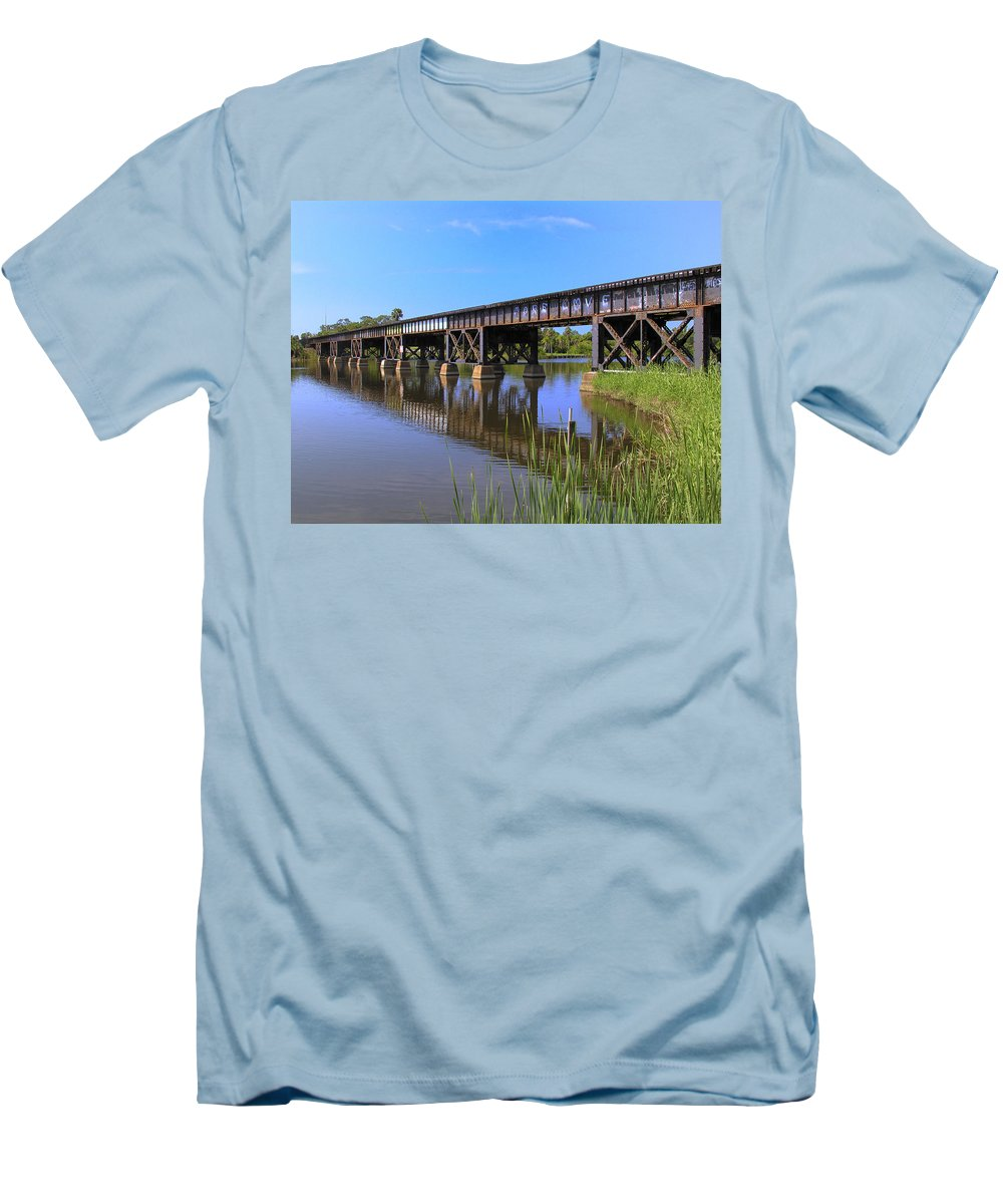 Florida; East Coast; Railroad; Railway; Track; Bridge; Trestle; Road; Roadbed; Bed; Ties; Engine; Lo Men's T-Shirt (Athletic Fit) featuring the photograph Florida East Coast Railroad Bridge by Allan Hughes