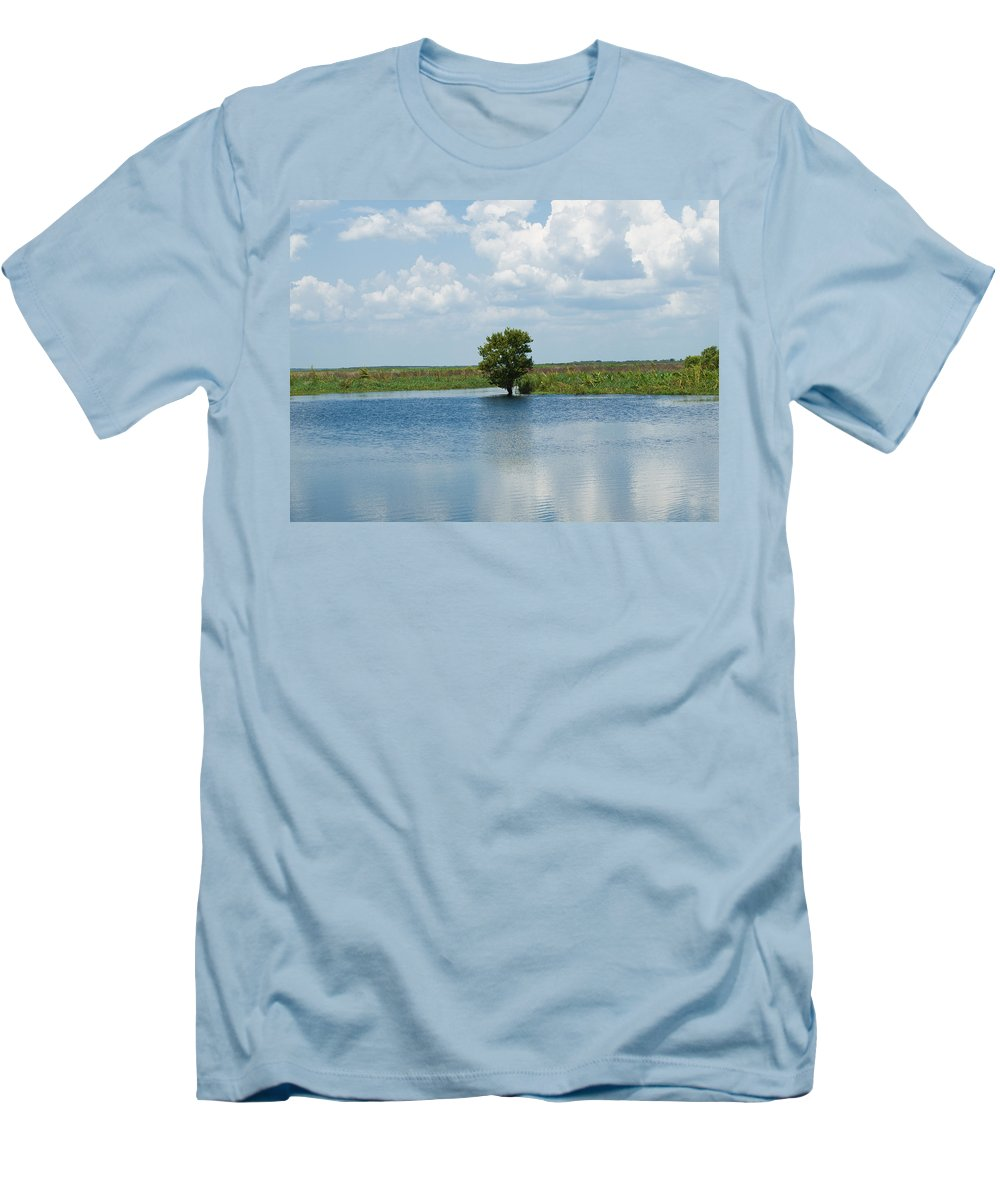 Florida; River; St; Johns; Saint; John; Flow; Flows; North; South Direction; Flowing; Current; Backw Men's T-Shirt (Athletic Fit) featuring the photograph Florida River Backwater by Allan Hughes