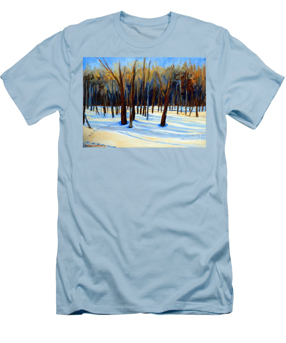 Beautiful Winter Men's T-Shirt (Athletic Fit) featuring the painting Footprints by Carole Spandau