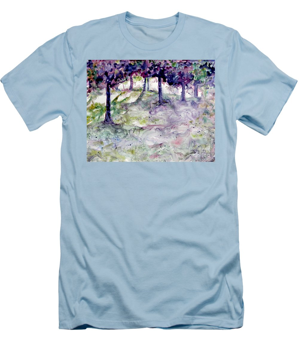 Fastasy Men's T-Shirt (Athletic Fit) featuring the painting Forest Fantasy by Jan Bennicoff