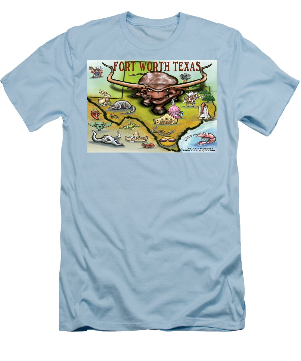 Fort Worth Men's T-Shirt (Athletic Fit) featuring the greeting card Fort Worth Texas Cartoon Map by Kevin Middleton