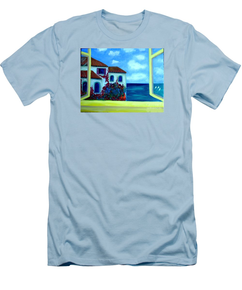 Seascape Men's T-Shirt (Athletic Fit) featuring the painting Fresh Sea Air by Laurie Morgan