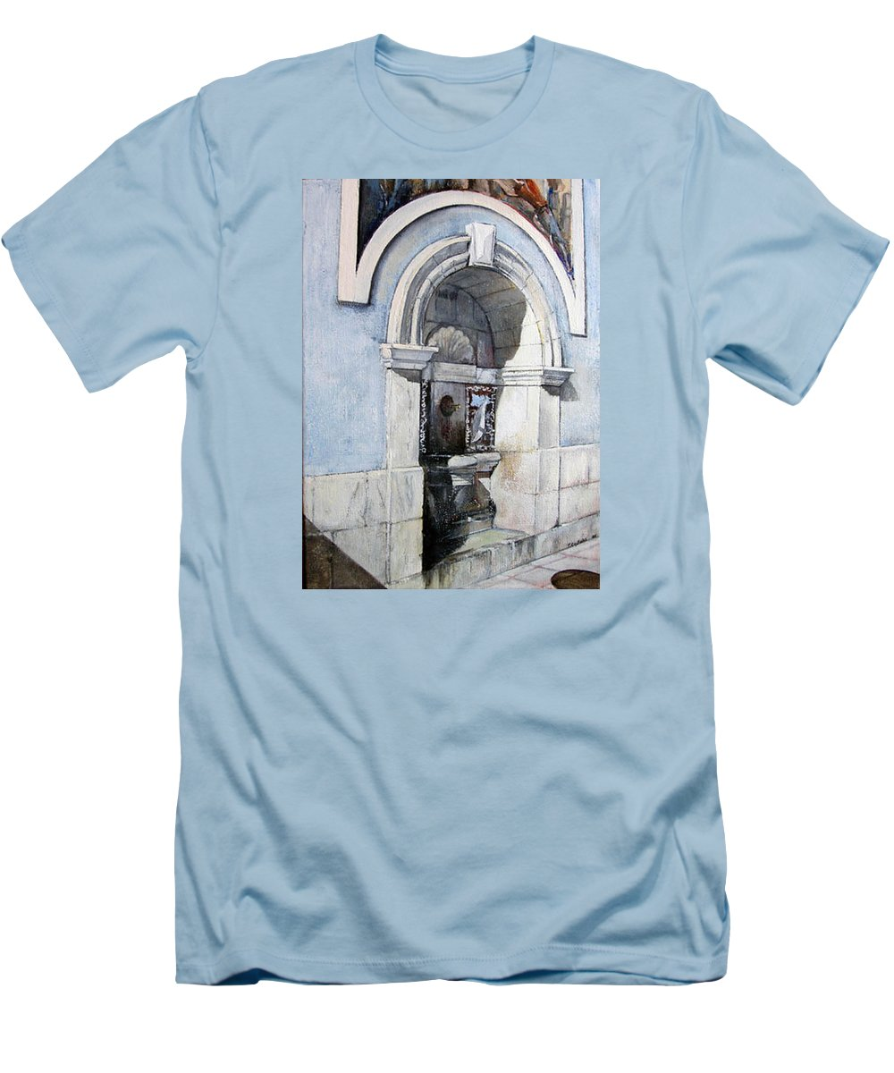 Fuente Men's T-Shirt (Athletic Fit) featuring the painting Fuente Castro Urdiales by Tomas Castano