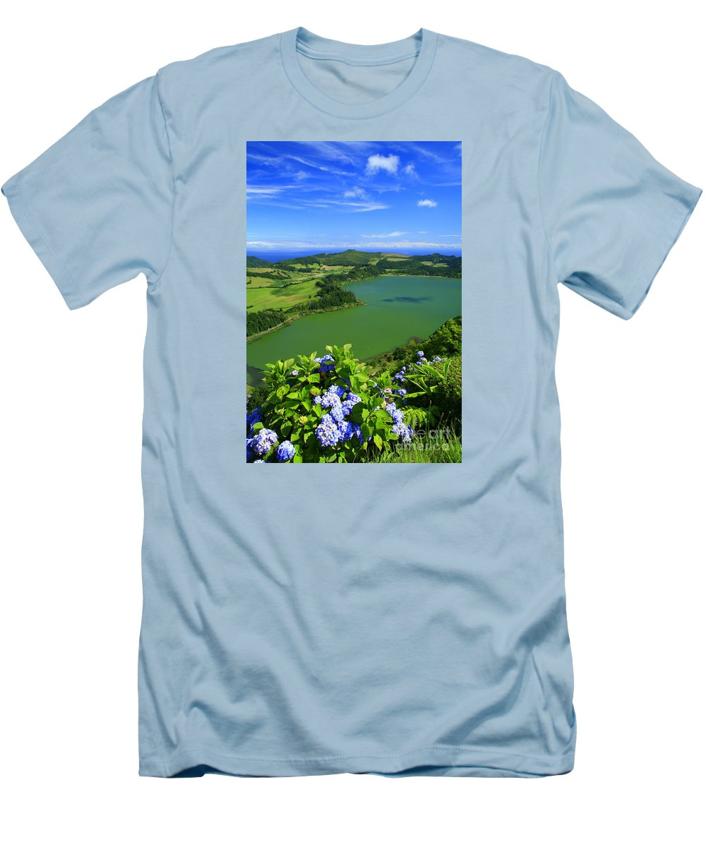 Azores Men's T-Shirt (Athletic Fit) featuring the photograph Furnas Lake by Gaspar Avila