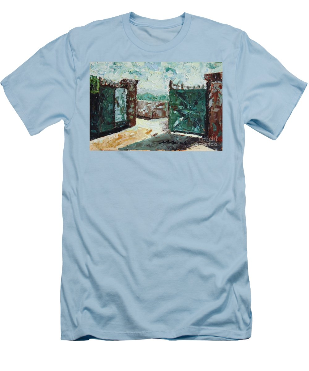 Gate Oil Canvas Men's T-Shirt (Athletic Fit) featuring the painting Gate2 by Seon-Jeong Kim