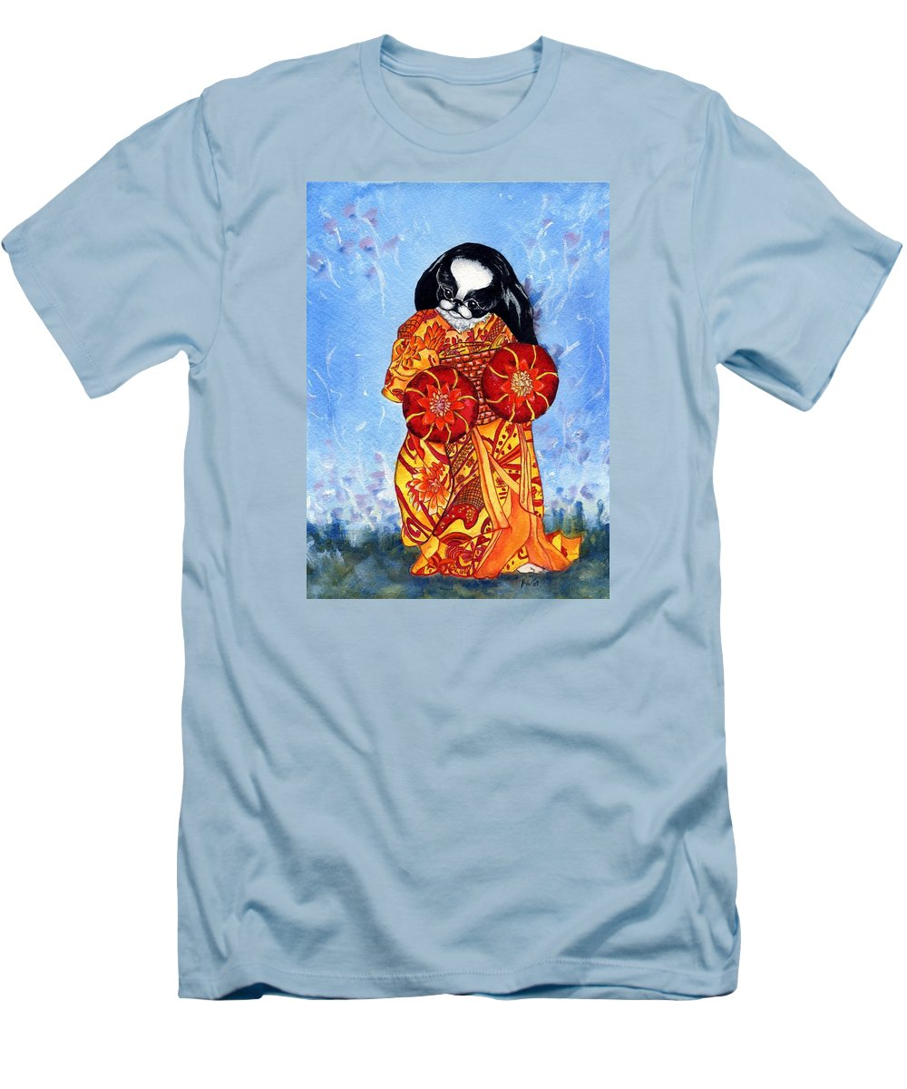 Japanese Chin Men's T-Shirt (Athletic Fit) featuring the painting Geisha Chin by Kathleen Sepulveda
