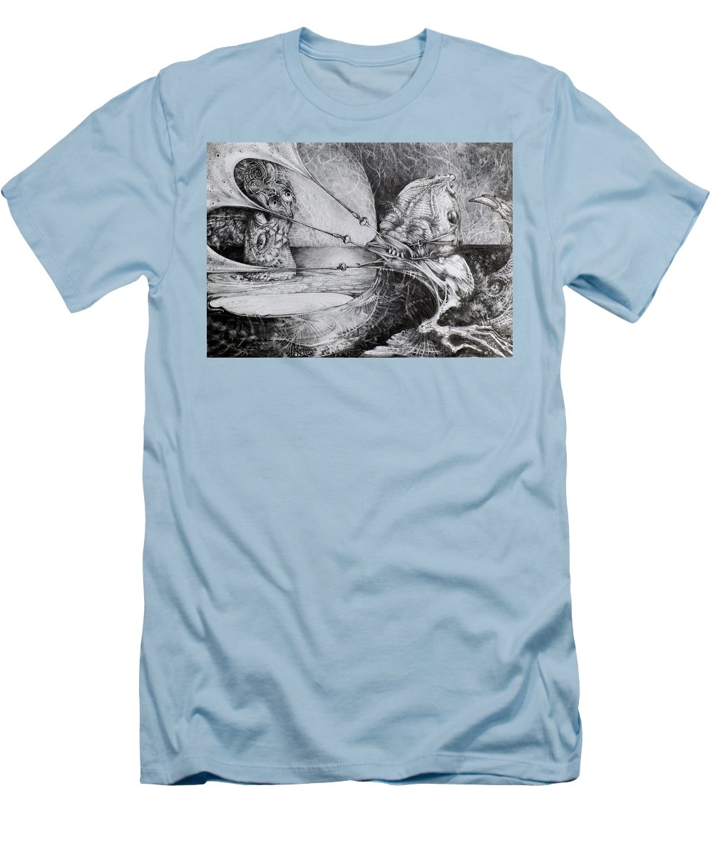 Surrealism Men's T-Shirt (Athletic Fit) featuring the drawing General Peckerwood In Purgatory by Otto Rapp