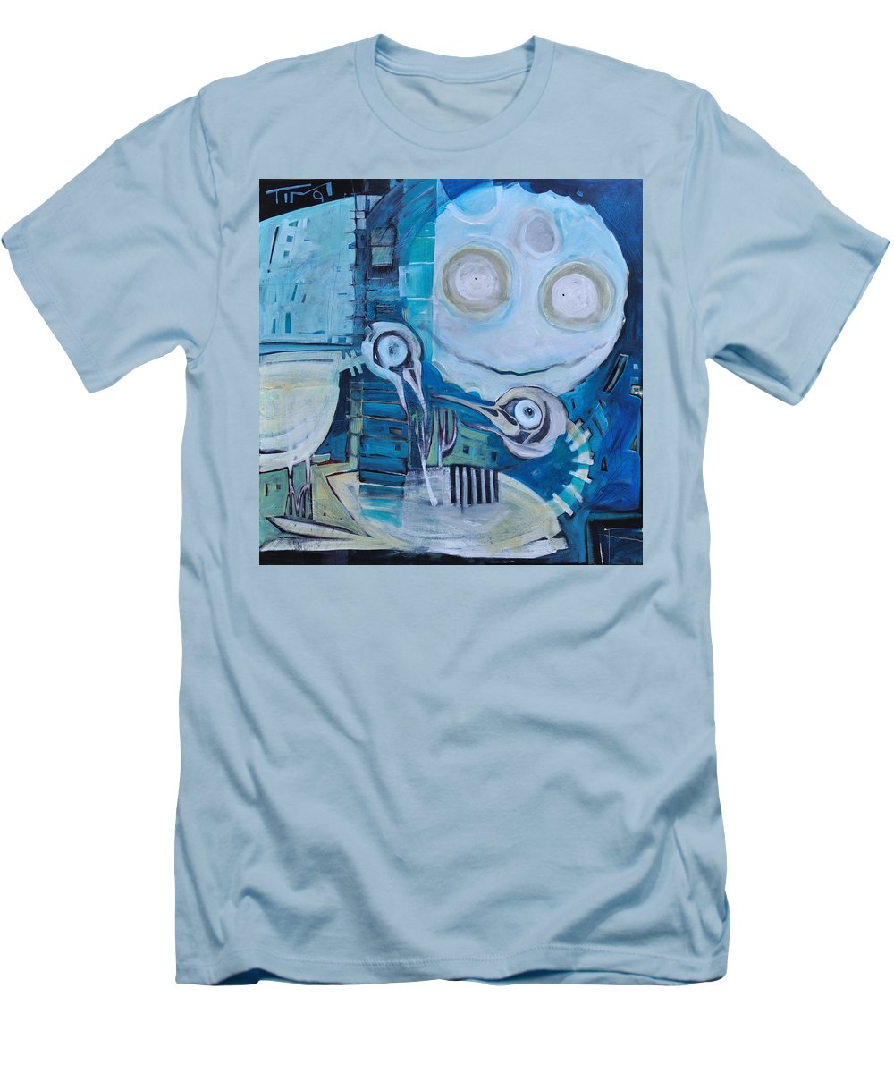 Bird Men's T-Shirt (Athletic Fit) featuring the painting Ghost Birds At Play by Tim Nyberg