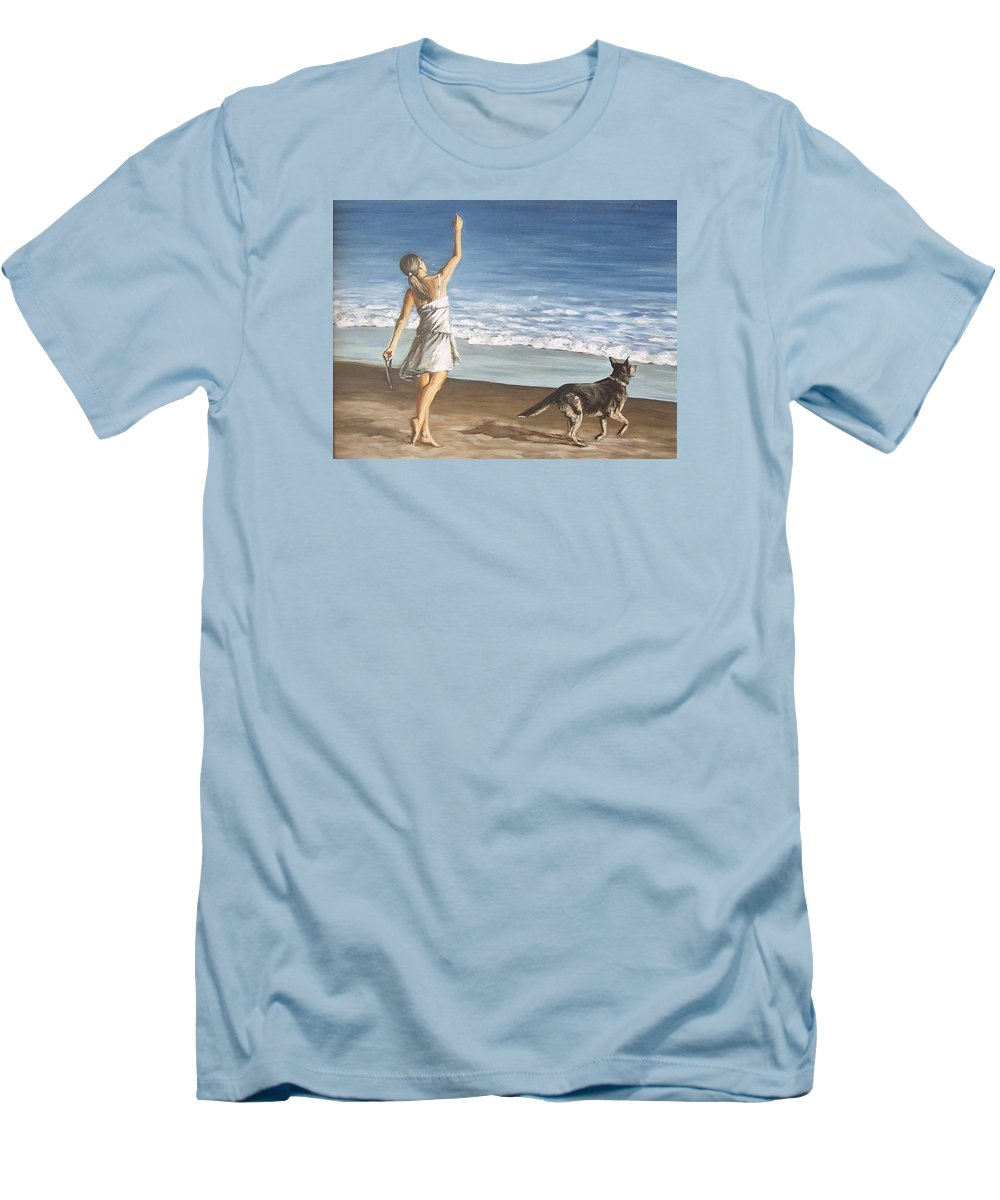 Portrait Girl Beach Dog Seascape Sea Children Figure Figurative Men's T-Shirt (Athletic Fit) featuring the painting Girl And Dog by Natalia Tejera