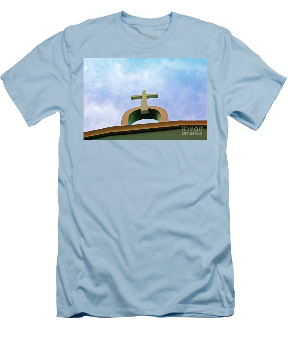 Cross Men's T-Shirt (Athletic Fit) featuring the photograph Going Up by Debbi Granruth