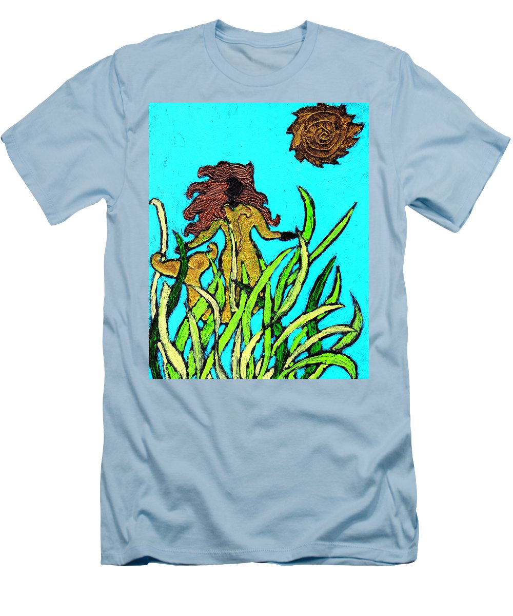 Mermaid Men's T-Shirt (Athletic Fit) featuring the painting Golden Mermaid by Wayne Potrafka