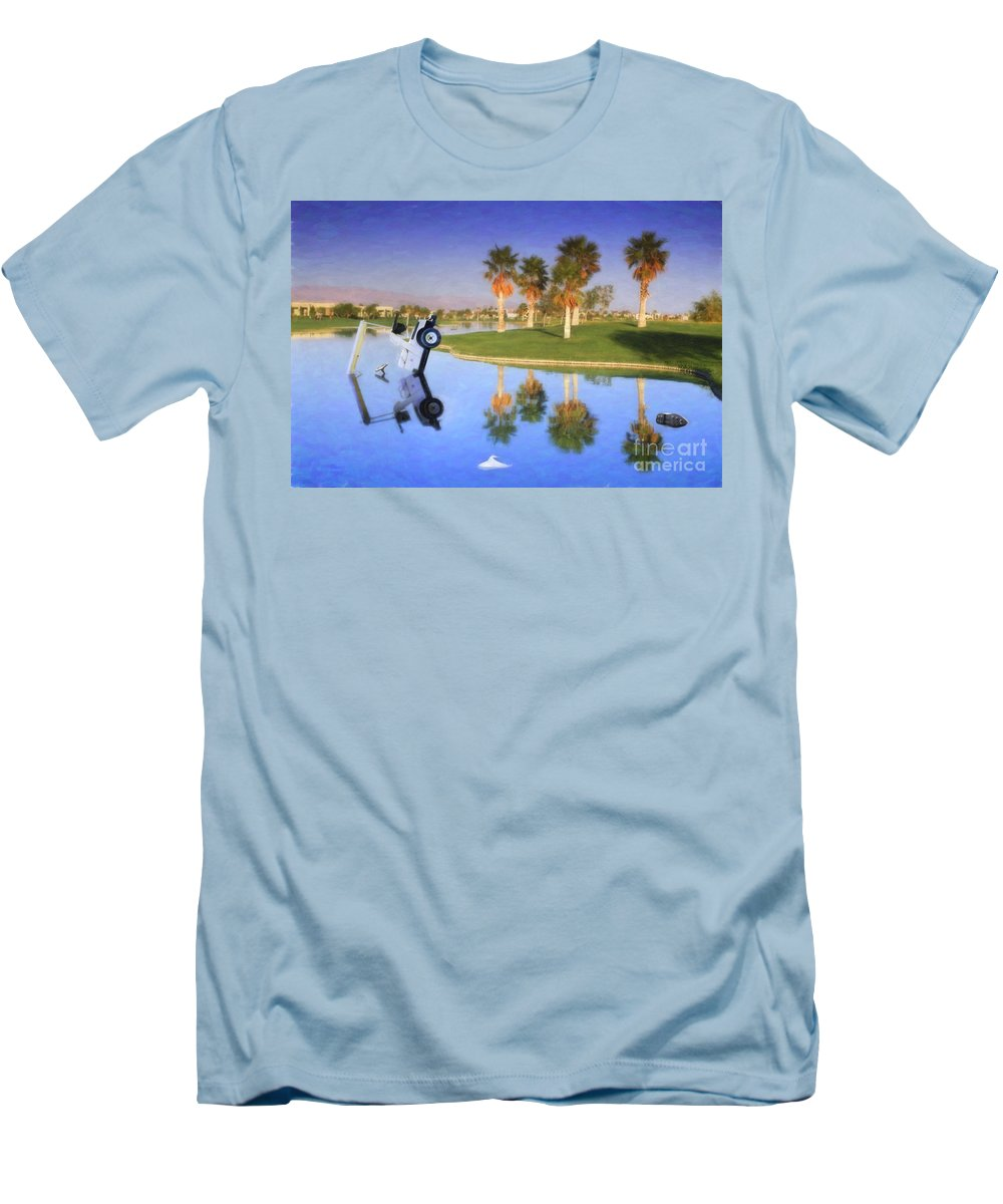 Golf Cart In Water Men's T-Shirt (Athletic Fit) featuring the photograph Golf Cart Stuck In Water by David Zanzinger