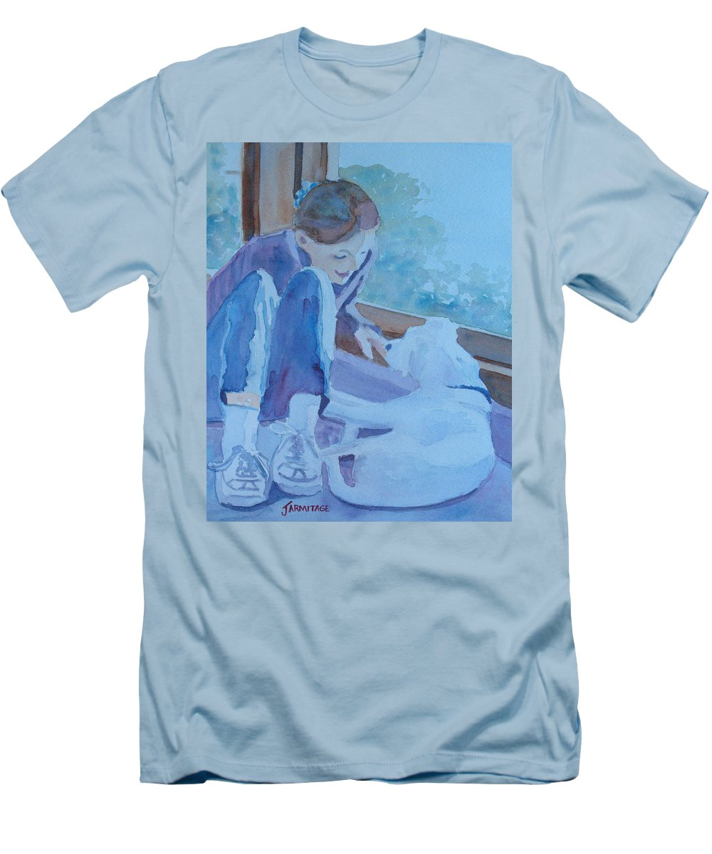Girl Men's T-Shirt (Athletic Fit) featuring the painting Good Morning Puppy by Jenny Armitage