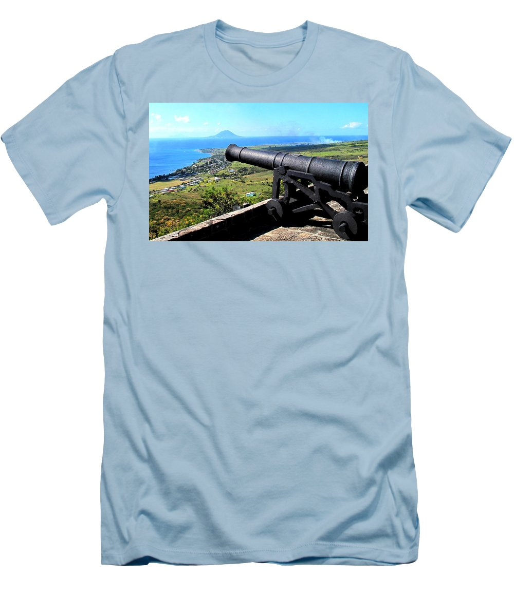 Brimstone Men's T-Shirt (Athletic Fit) featuring the photograph Guarding The Channel by Ian MacDonald