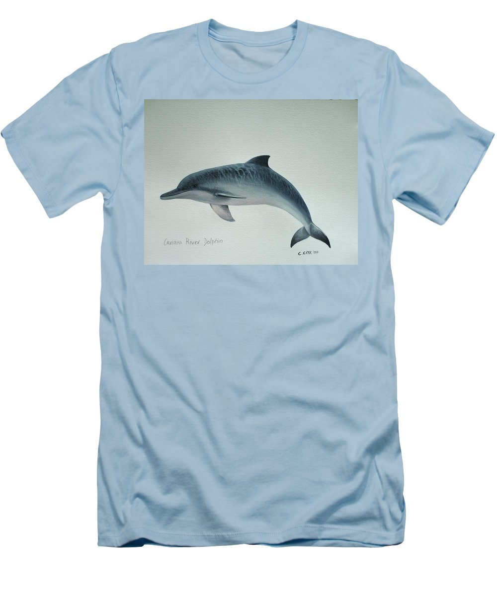River Dolphin Men's T-Shirt (Athletic Fit) featuring the painting Guiana River Dolphin by Christopher Cox