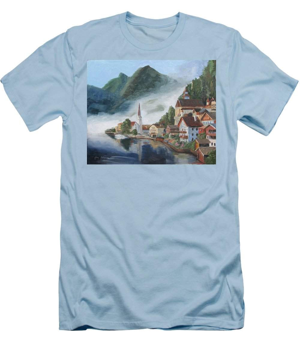 Landscape Men's T-Shirt (Athletic Fit) featuring the painting Hallstatt Austria by Jay Johnson