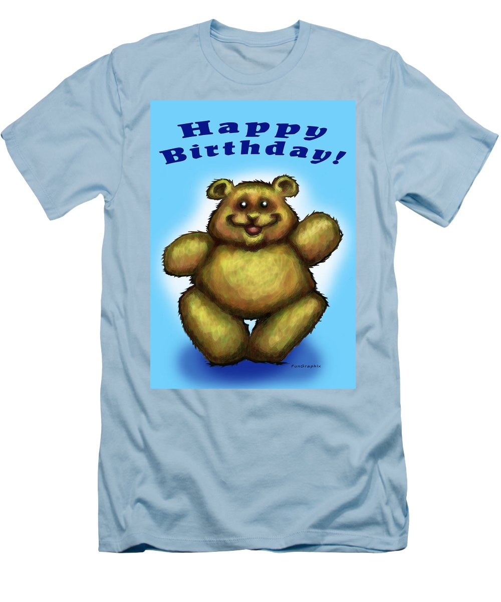 Happy Birthday Men's T-Shirt (Athletic Fit) featuring the greeting card Happy Birthday Bear by Kevin Middleton