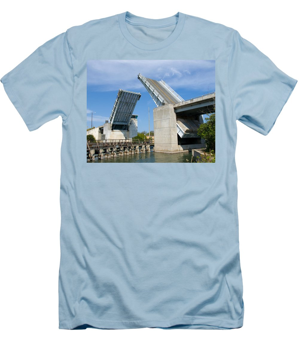 Haulover; Haul; Over; Canal; Waterway; Florida; Drawbridge; Draw; Bridge; Open; Swing; Scene; Scener Men's T-Shirt (Athletic Fit) featuring the photograph Hauover Canal In Florida by Allan Hughes