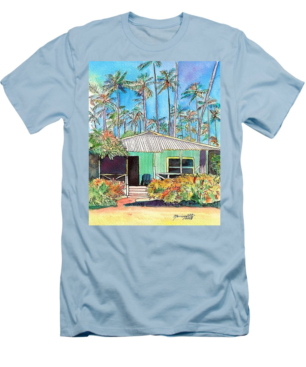 Cottage Men's T-Shirt (Athletic Fit) featuring the painting Hawaiian Cottage I by Marionette Taboniar