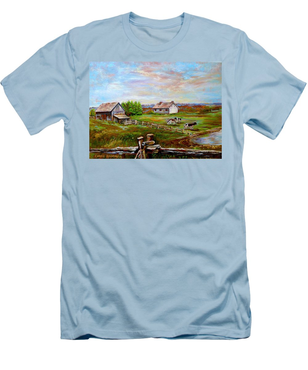 Ile D'orleans Men's T-Shirt (Athletic Fit) featuring the painting Heaven On Earth by Carole Spandau
