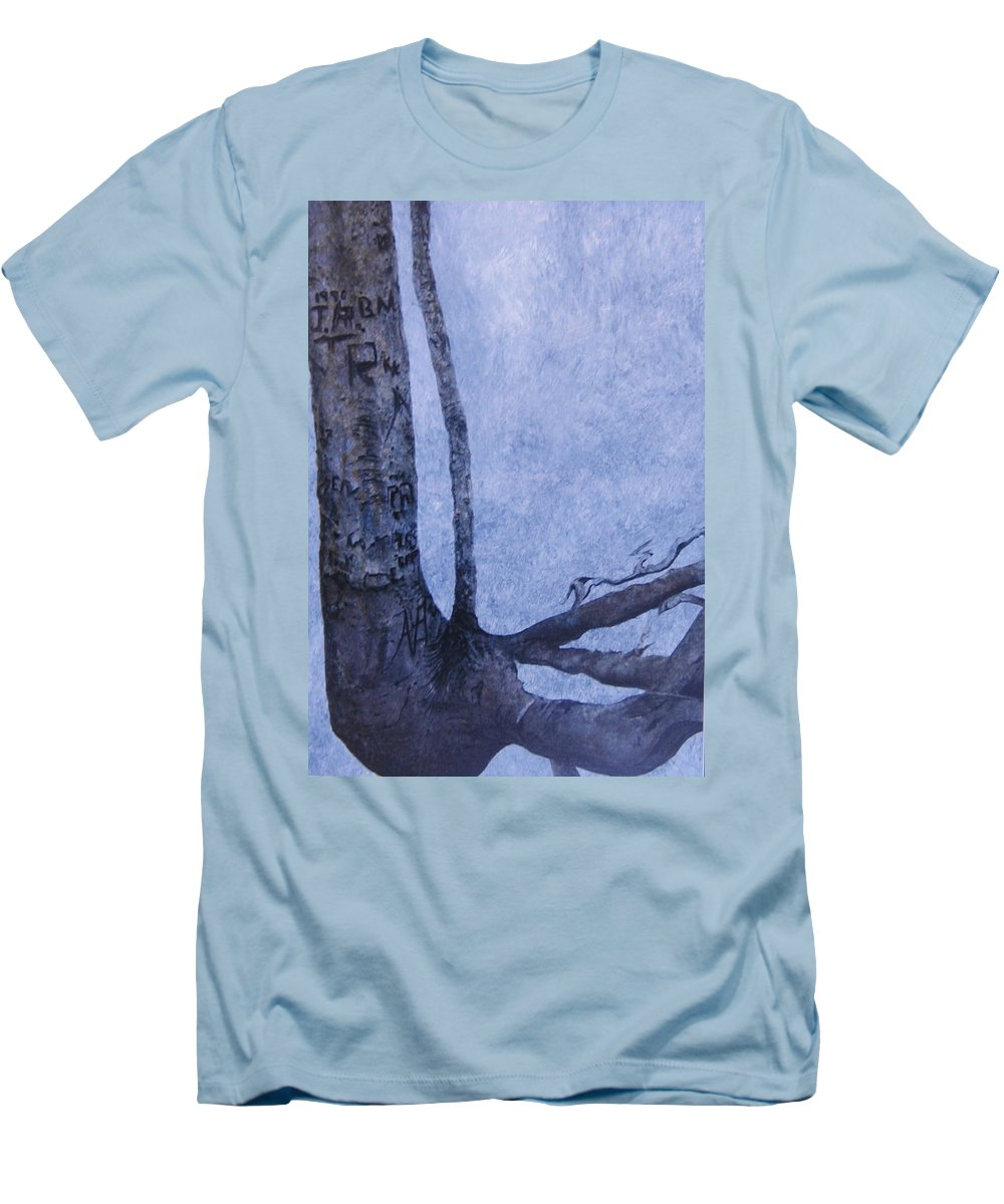 Tree Trunk Men's T-Shirt (Slim Fit) featuring the painting Hedden Park II by Leah Tomaino