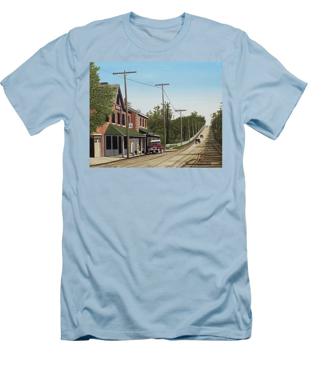 Streetscapes Men's T-Shirt (Athletic Fit) featuring the painting Hoggs Hollow Toronto 1920 by Kenneth M Kirsch